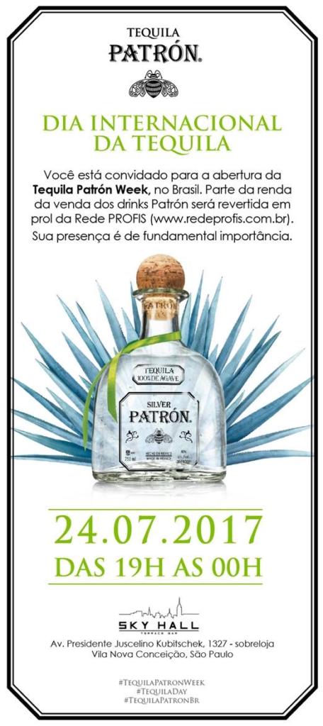 Convite para a Tequila Patrón Week abrindo o Dia Internacional da Tequila